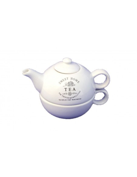 "Tetera y taza porcelana ""Sweet Home Tea"""